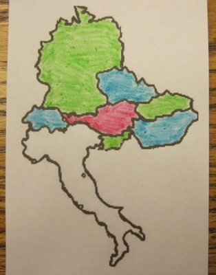 The region of Europe directly surrounding Austria (red) is a real-world example of why it's the 4-color theorem and not the 3-color theorem. Italy can't be colored red, blue, or green without causing problems.