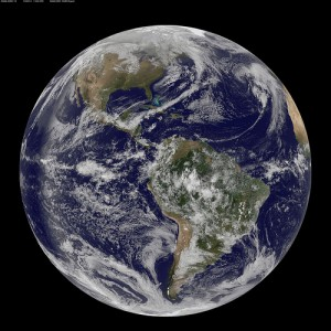 A satellite view of Earth. Mathematicians across the globe are devoting 2013 to studying the mathematics behind a wide range of processes on our planet. Image: NOAA/NASA/GOES Project.