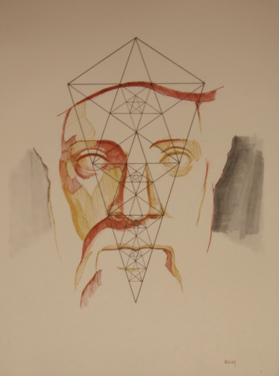A drawing by Joseph Koch incorporates the Lute of Pythagoras into a portrait of Pythagoras himself. Image copyright Joseph Koch. Used with permission.