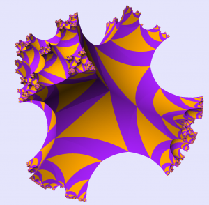 The universal cover of a genus 3 handlebody, visualized using the program kleinian. Image: Danny Calegari.